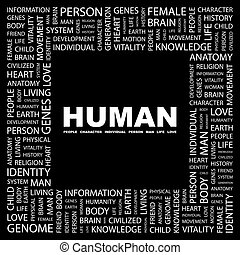 HUMAN. Background concept wordcloud illustration. Print...