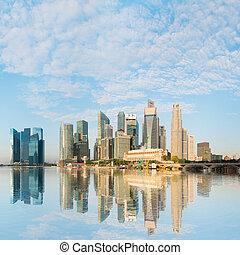 Modern city skyline under blue sky