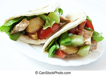 Chicken and Vegetables Kebab - Chicken Kebab with...