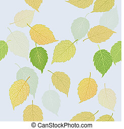 Green and yellow autumn leaves - Seamless illustration of...