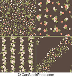 Set of seamless berries patterns