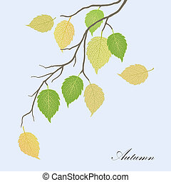 green and yellow autumn leaves - Beautiful illustration of...