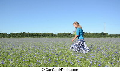 girl pick flowers field