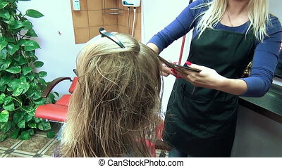 parlour customer hair - SIRVINTOS, LITHUANIA - SEPTEMBER 29:...