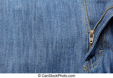 Jeans background with open zipper - Blue jeans background...