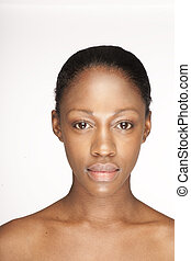 beauty skin - African woman with natural make-up headshoot