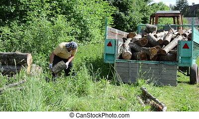 tired man log trailer