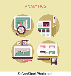 flat design icon set of analytics elements