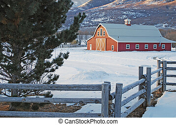 Red Barn with Log Fence