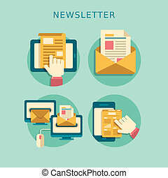 flat design concept of newsletter - flat design concept of...