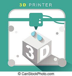 3d printer icon with flat design for infographics and...