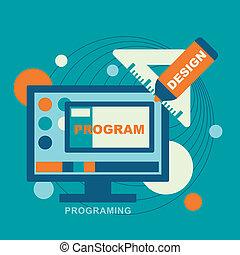 flat design concept of programmer workflow