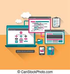 flat design concept of web development - flat design concept...