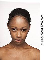 beauty face - African woman with natural make-up headshoot