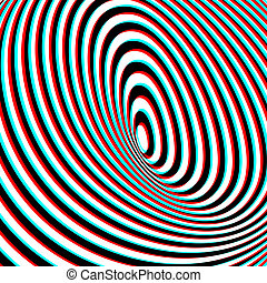Anaglyph Opt Art Illustration - Optical Illusion - Anaglyph...