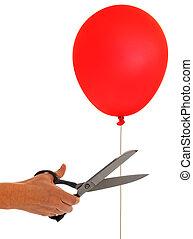 Break free - cut balloon freedom, release metaphor - Let it...