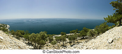 Panoramic view of beautiful clear water beach in Greece