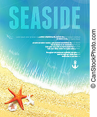 Beautiful Seaside View with Starfish Vector illustration,...