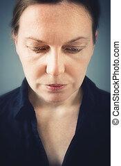 Sad woman portrait - Close up portrait of sad woman with...