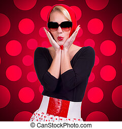 Retro girl over red polka-dot background - Pin-up girl over...