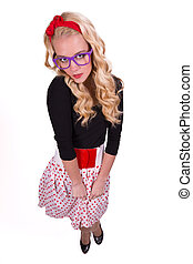 Isolated retro girl in polka-dotted skirt