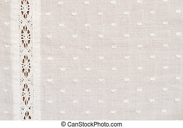 Spotted fabric with a lace - Spotted fabric with a strip of...