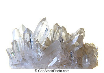 Rock crystal with many single crystals in front of white...