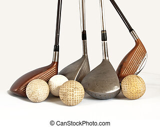 balls and clubs - antique golf balls and old  clubs