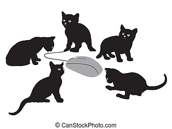 Kittens is hunting for computer mou - illustration of five...