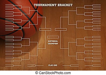 Basketball tournament bracket over image of ball with spot...