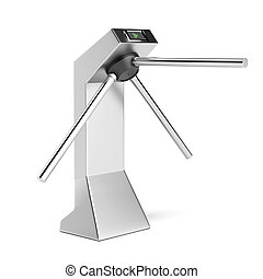 Silver turnstile isolated on a white background. 3d render
