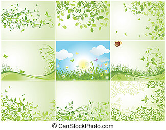 Green spring backgrounds