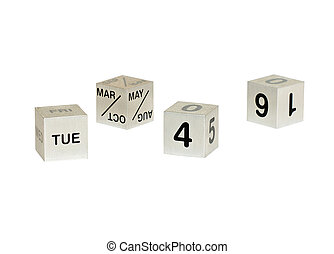 Cube calendar isolated on white