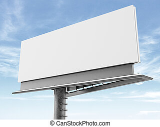Blank billboard on the background of clouds. 3d render