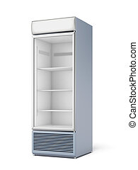 Drink display fridge isolated on a white background. 3d...