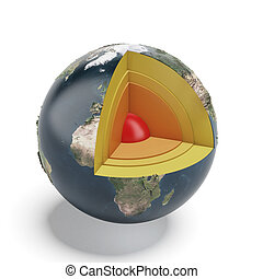 Structure of the Earth isolated on a white background 3d...