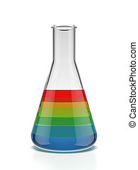 Color samples into a flask isolated on a white background 3d...