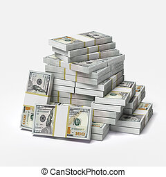 big pile of dollars isolated on a white background 3d render...