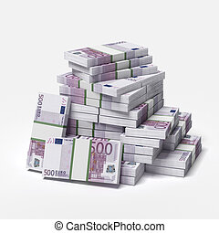 big pile of euros isolated on a white background. 3d render