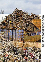Scrapyard view - View of a scrapyard with detritus and metal...