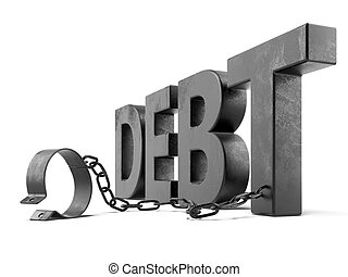 debt text with shackles isolated on a white background. 3d...