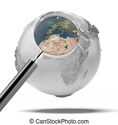 earth with magnifier