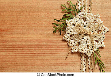 Background and a crochet lace - Wooden background with a...