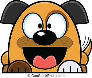 Cartoon Mutt Puppy Wagging Tail - Cute cartoon puppy looking...