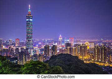 Taipei Taiwan - Taipei, Taiwan skyline at night.