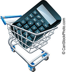 Calculator trolley concept. A calculator in a shopping...