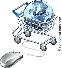 Globe computer mouse shopping cart, shopping cart containing...
