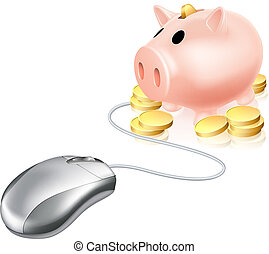 Computer mouse connected to Piggy bank