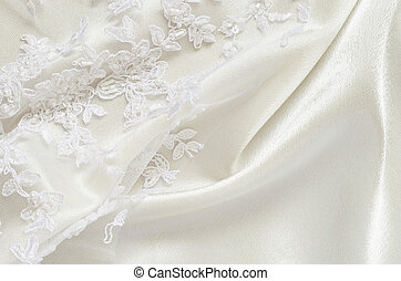 Satin and lace - White wedding satiin and embroidered lace