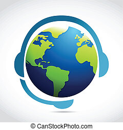 globe with headphones illustration design